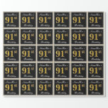 [ Thumbnail: Elegant, Faux Gold 91st Birthday + Custom Name Wrapping Paper ]
