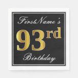 [ Thumbnail: Elegant, Faux Gold 93rd Birthday + Custom Name Napkin ]