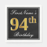 [ Thumbnail: Elegant, Faux Gold 94th Birthday + Custom Name Paper Napkin ]