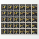 [ Thumbnail: Elegant, Faux Gold 94th Birthday + Custom Name Wrapping Paper ]