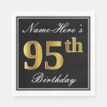 [ Thumbnail: Elegant, Faux Gold 95th Birthday + Custom Name Paper Napkin ]
