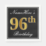 [ Thumbnail: Elegant, Faux Gold 96th Birthday + Custom Name Paper Napkin ]