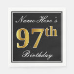[ Thumbnail: Elegant, Faux Gold 97th Birthday + Custom Name Napkin ]