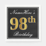 [ Thumbnail: Elegant, Faux Gold 98th Birthday + Custom Name Napkin ]