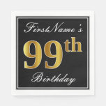 [ Thumbnail: Elegant, Faux Gold 99th Birthday + Custom Name Napkin ]