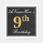 [ Thumbnail: Elegant, Faux Gold 9th Birthday + Custom Name Napkin ]