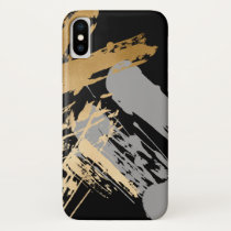 elegant faux gold and grey brushstrokes iPhone XS case
