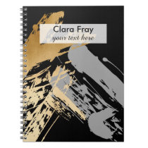 elegant faux gold and grey brushstrokes notebook