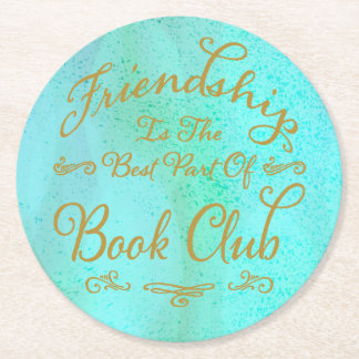 Elegant Faux Gold and Watercolor Book Club Round Paper Coaster