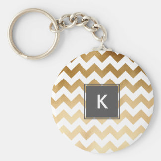 elegant faux gold and white chevron pattern keychain