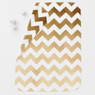 elegant faux gold and white chevron pattern receiving blanket