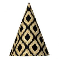 Elegant Faux Gold Black Glitter Tribal Pattern Party Hat