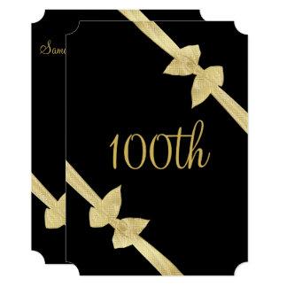 Elegant Faux Gold Bows 100th Birthday Card
