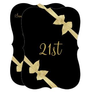 Elegant Faux Gold Bows 21st Birthday Card