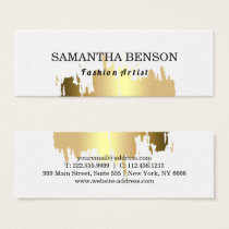 Elegant Faux Gold  Brushed Vertical Mini Business Card