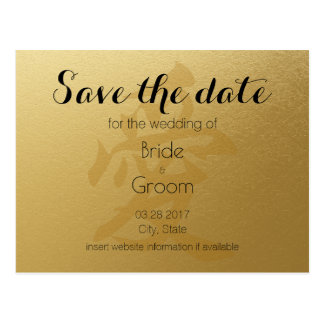 Elegant Faux Gold Chinese Wedding Save The Date Postcard