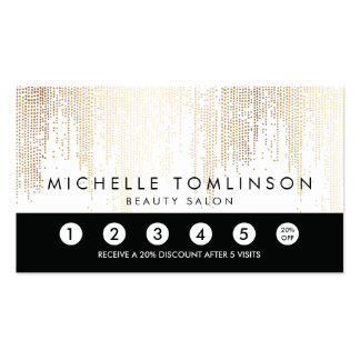 Elegant Faux Gold Confetti Dots Loyalty Punch Card Business Card