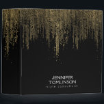 """Elegant Faux Gold Confetti Dots on Black Binder<br><div class=""""desc"""">Coordinates with the Elegant Faux Gold Confetti Dots on Black Business Card Template by 1201AM. An array of cascading faux gold-hued confetti dots create an eye-catching design pattern on this stylish personalized binder. Set on a black background for a beautiful contrasted motif. &#169; 1201AM CREATIVE</div>"""