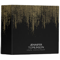 Elegant Faux Gold Confetti Dots on Black Binder