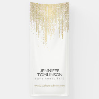Elegant Faux Gold Confetti Dots on White Banner