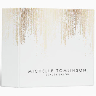 Elegant Faux Gold Confetti Dots on White Binder