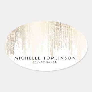 Elegant Faux Gold Confetti Dots Oval Sticker