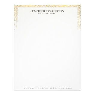 Elegant Faux Gold Confetti Dots Pattern Black Ii Letterhead at Zazzle