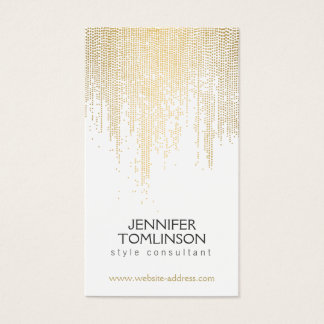 Elegant Faux Gold Confetti Dots Pattern Business Card