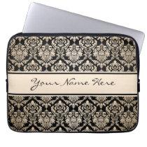 Elegant Faux Gold Damasks Pattern On Black Computer Sleeve