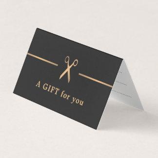 Elegant Faux Gold Dark Hair Gift Certificate