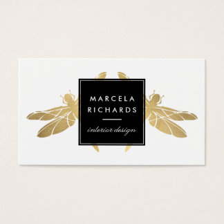 Elegant Faux Gold Dragonfly Duo Business Cards