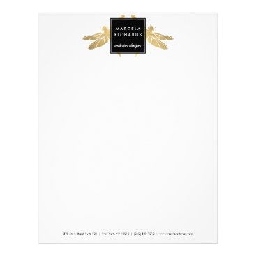 Elegant Faux Gold Dragonfly Duo Letterhead