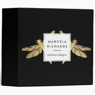 Elegant Faux Gold Dragonfly Duo on Black Binder