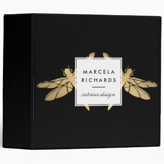 Elegant Faux Gold Dragonfly Duo on Black Binder