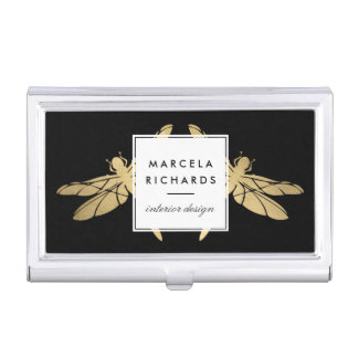Elegant Faux Gold Dragonfly Duo on Black Business Card Holder