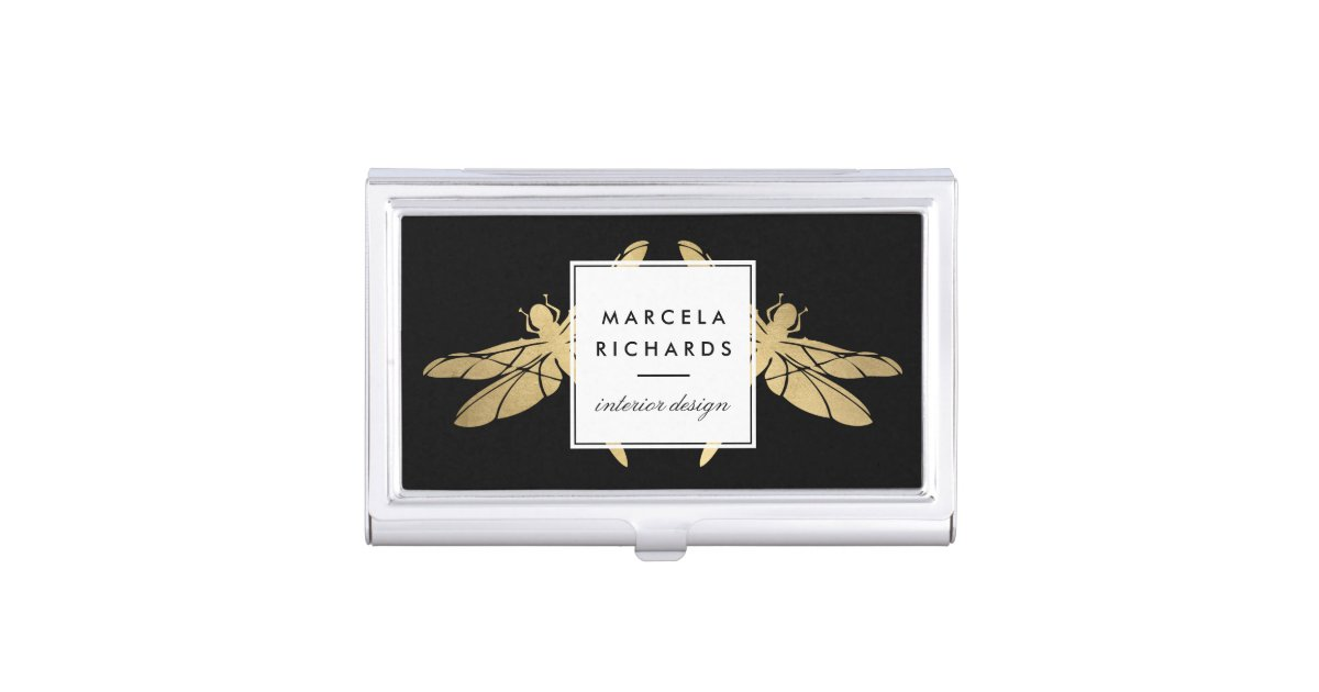 Elegant Faux Gold Dragonfly Duo on Black Business Card Holder ...