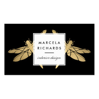 Elegant Faux Gold Dragonfly Duo on Black Double-Sided Standard Business Cards (Pack Of 100)