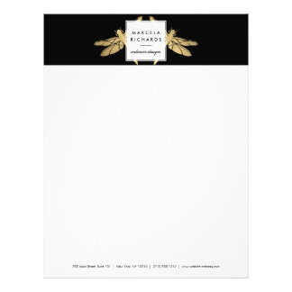 Elegant Faux Gold Dragonfly Duo on Black Letterhead