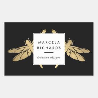 Elegant Faux Gold Dragonfly Duo on Black Rectangular Sticker