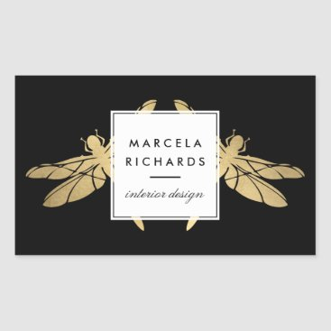 Elegant Faux Gold Dragonfly Duo on Black Rectangular Sticker
