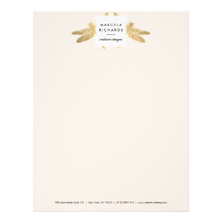 Elegant Faux Gold Dragonfly Duo on Pink Letterhead