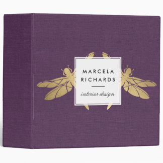 Elegant Faux Gold Dragonfly Duo on Purple Linen Binder