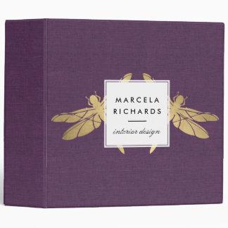 Elegant Faux Gold Dragonfly Duo on Purple Linen Binder