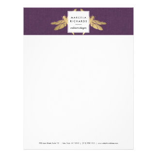 Elegant Faux Gold Dragonfly Duo on Purple Linen Letterhead