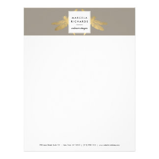 Elegant Faux Gold Dragonfly Duo on Taupe Letterhead