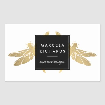 Elegant Faux Gold Dragonfly Duo Rectangular Sticker