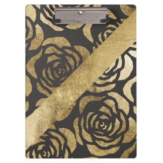 Elegant Faux Gold Floral and Black Clipboard