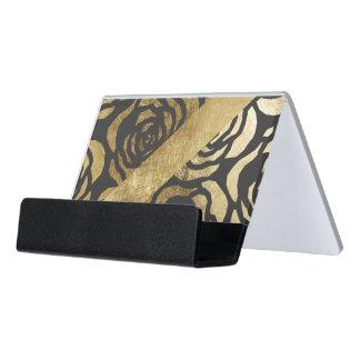 Elegant Faux Gold Floral and Black Desk Business Card Holder