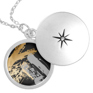 elegant faux gold foil and grey brushstrokes locket necklace