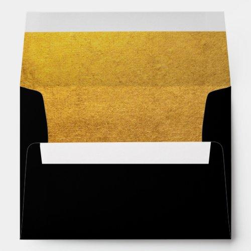 Elegant Faux Gold Foil Black Envelope